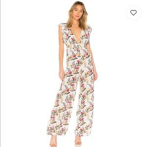 X Revolve Beach Riot Sunny Jumpsuit in Blue Floral